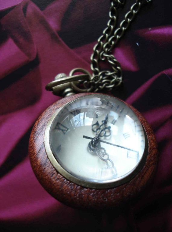 Antique Wood Grain Bronze Pocket Watch Necklace by Azuraccessories, $8.85