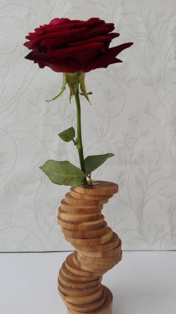 Wooden flower vase with test tube wooden bud vase test tube