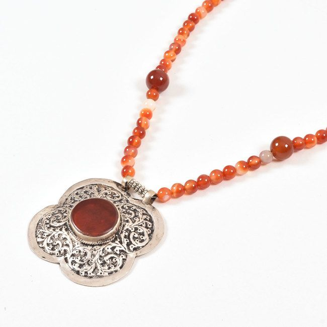 Buy online Handcrafted Red Precious Beads Necklace With Antique Afghani Pendants 10012879