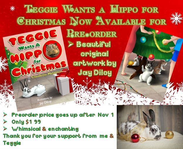 It's Live! Pre-order for Teggie Wants a Hippo for Christmas is ready! Pre-order your copy now to get the special low price of $1.99 Goes up to $3.50 Nov. 1st on release The whimsical story of a bunny who wants a very unusual present for Christmas A perfect holiday read! Amazon: https://www.amazon.com/dp/B07637QF4W/ref=sr_1_1?s=books&ie=UTF8&qid=1506879940&sr=1-1&keywords=teggie&utm_content=bufferb3c28&utm_medium=social&utm_source=pinterest.com&utm_campaign=buffer Smashwords…