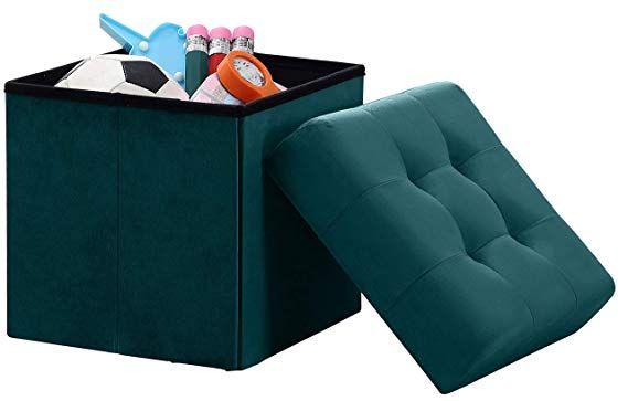 Amazon Com Ornavo Home Foldable Tufted Linen Storage Stool Seat