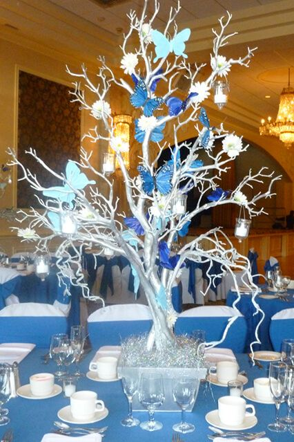 Silver Tree Centerpiece Silver Tree Centerpiece with Blue Butterflies & Hanging Tea Lights