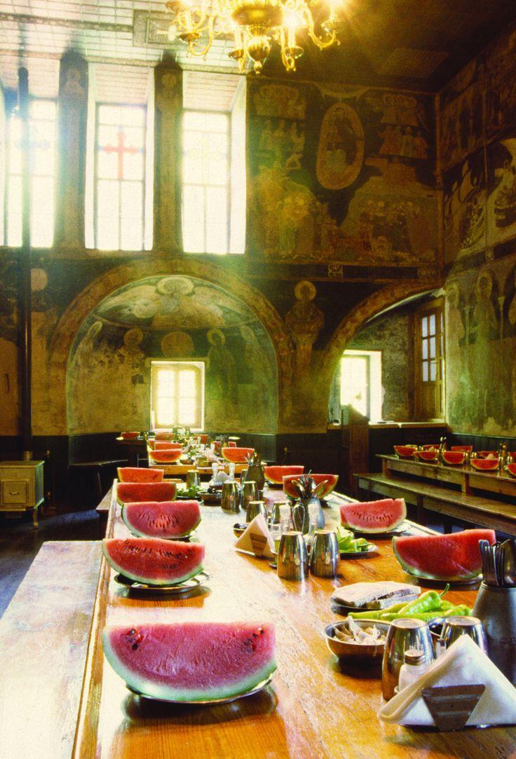The dining room - Hilandar Serbian Monastery, Mount Athos, Greece