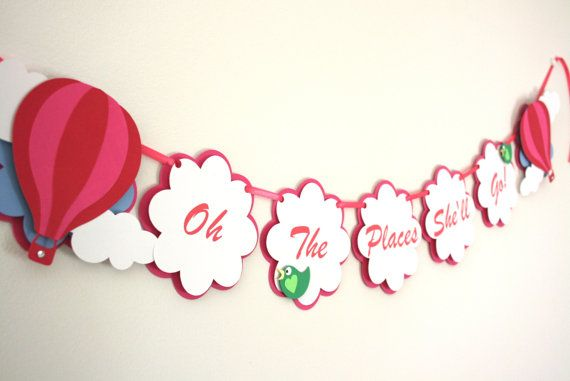 Oh The Places She'll Go Banner Hot Air Balloon by treelittlebirdz