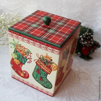 """Короб """"Сапожки с подарками"""" - короб для хранения,новогодний декор,новогодние подарки"""