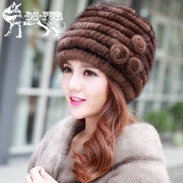 Hot sale real mink fur hat for women winter knitted mink fur beanies cap with floral decoration 2015 brand new thick female caps US $53.98 To Buy Or See Another Product Click On This Link  http://goo.gl/yekAoR