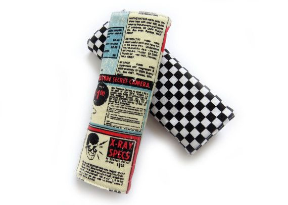Reversible Car Seat Strap Covers (Baby / Toddler) - Black and White Checkerboard / Retro Comic Book Rocket Ads // Drool Pads //Padded Covers