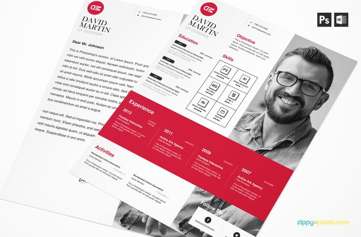 Download this clean PSD, MS Word, InDesign resume & cover template. Available in A4 & US Letter Sizes in 3 colors. This creative business resume template is for creatives and non-creative professionals alike.