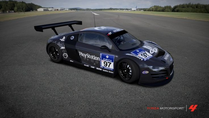 7 - Just look at this thing. Although Audi had to drop the road-legal R8′s 4WD system for the race version, it is still a terrifically responsive car. This iconic PlayStation livery was raced at the 2009 Nurburgring 24 Hours race and it looks great even if its slightly out of place in an Xbox 360 game! You can find it by browsing through the most downloaded designs for this car in the Forza 4 Storefront. #Audi