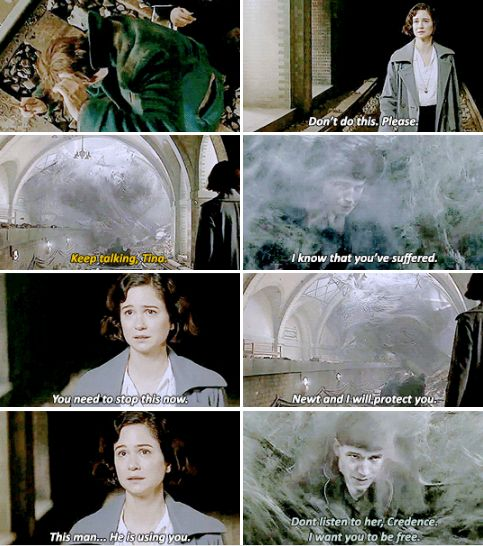 Fantastic Beasts - Newt and I will protect you.   Inside the Obscurus, Credence reaches out to Tina, the only person who has ever done him an uncomplicated kindness. He looks at Tina, desperate and afraid. He has dreamed of her ever since she saved him from a beating.