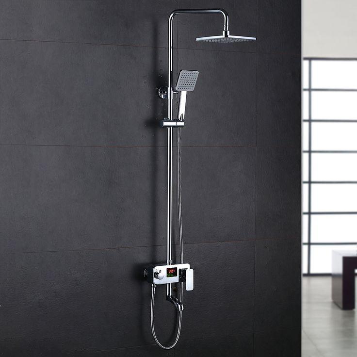 kcasa kc s01 bathroom rain shower mixer set with led centigrade temperature display luxury rain - Regendusche Set
