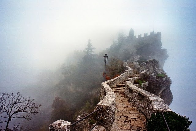 The way to the Guaita Fortress in San Marino Italy.