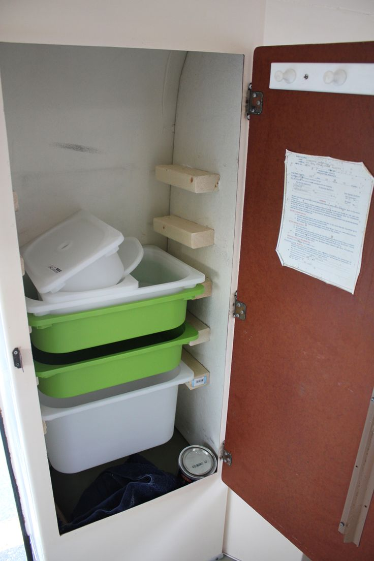 Ikea containers in closet supported by 2x3 strips on either side - great for storage.