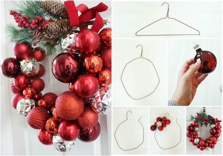 Drahtbügel biegen und rote Weihnachtskugeln auffädeln
