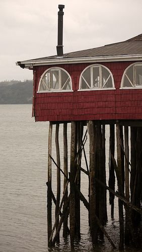 "Flamingo House Restaurant ...photographer said ""excellent restaurant with fresh sea food...Ancud, Chiloe Island, Chile, South America"