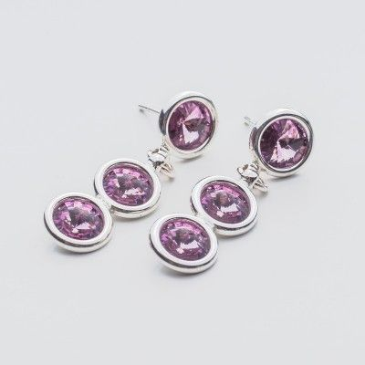 Swarovski Rivoli Earrings 6/6/6mm Light Amethyst  Dimensions: length: 3,2cm stone size: 6mm Weight ( silver) ~ 3,30g ( 1 pair ) Weight ( silver + stones) ~ 3,95g Metal : sterling silver ( AG-925) Stones: Swarovski Elements 1122 SS29 ( 6mm ) Colour: Light Amethyst 1 package = 1 pair  Price 9 EUR