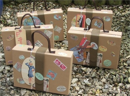 Vintage Suitcase Favour Boxes Oh yes these are so cute! The girls will get a little suitcase on arrival with a mini torch, eye pillow, lip gloss, lavender satchel and a face cloth... Too Cute!