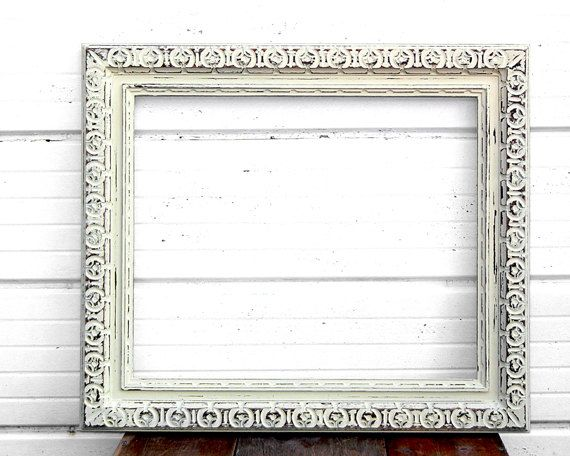 large18x22 ornate ivory frame thick rustic off white cream empty frame gallery wall wedding - Empty Frame