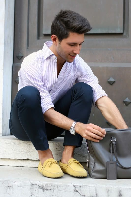 Car Shoe yellow mocassins and Prada Saffiano leather bag