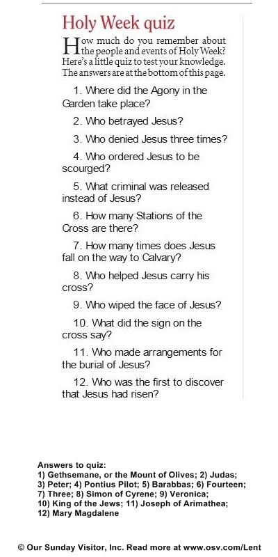 A Holy Week Quiz