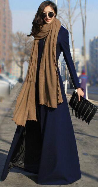 Beautiful High Neck Slim Super Long Coat
