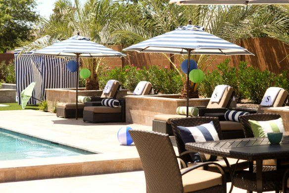 tommy's pool party: Pool Parties, Pools Furniture, Patios Furniture, Modern Patios, Poolside Parties, Beach Lounger, Pools Parties, Parties Tommyspoolpartyidea, Preppy Pools
