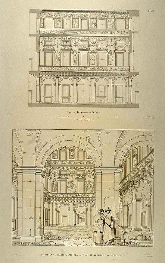 Fu costruito nel 1540 per il cardinale Girolamo Recanati Capodiferro (1501–1559). L'architetto fu Bartolomeo Baronino da Casale Monferrato, mentre una squadra di lavoro coordinata da Giulio Mazzoni creò i sontuosi stucchi sia dell'interno che degli esterni. Il palazzo fu comprato nel 1632 dal cardinale Bernardino Spada, il quale incaricò Francesco Borromini di modificarlo secondo i nuovi gusti barocchi.