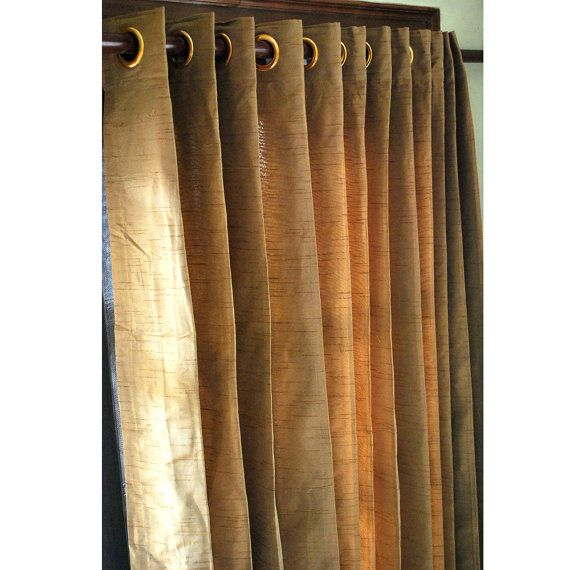 Pair of Gold Brown Silk Curtain Panels 26″x84″ Grommet Drapes Home And Living Bedroom Decor Housewares Valance Window Treatments Blackout