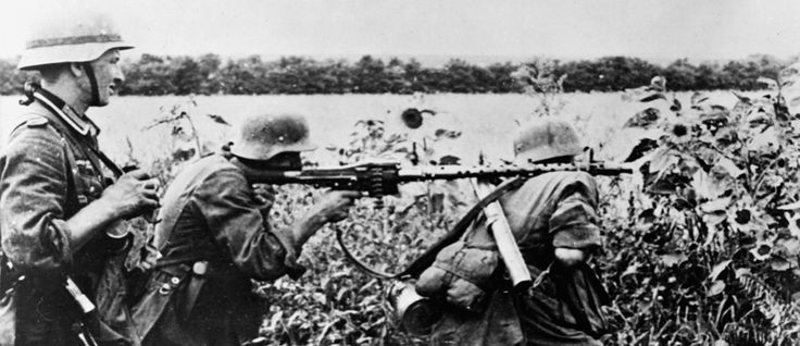 A German MG 34 machine gun team in action. The MG 34 and the later MG 42 were the best light machine guns of the war. Their fast rate of fire - up to 1,500 rounds per minute for the MG 42 - had a devastating effect on advancing Allied infantry.