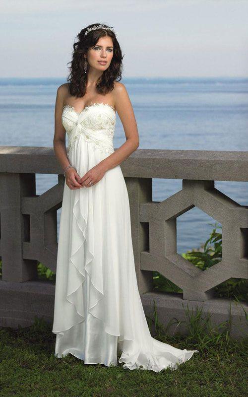 Romantic Simple Beach Wedding Dresses.