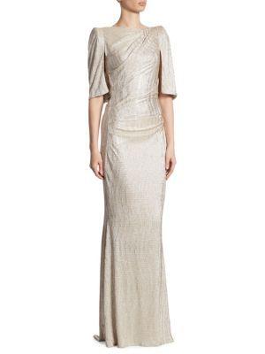 TALBOT RUNHOF Metallic Stretch Cloque Gown. #talbotrunhof #cloth #gown