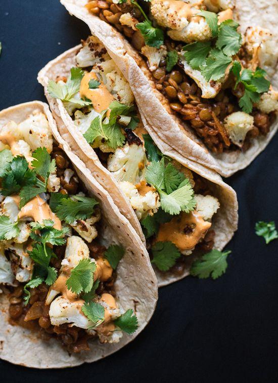 Roasted Cauliflower & Lentil Tacos with Creamy Chipotle Sauce   @styleminimalism