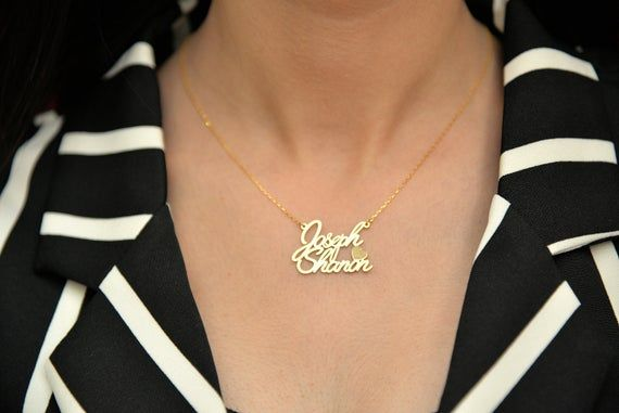Tiny Silver Name Necklace  Gold Multiple Name Necklace  Name Necklace  TWO Name Necklace  Sterling Silver  Valentine/'s Day Gift