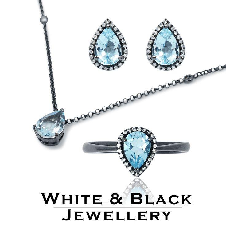 Kék topáz köves ékszer szett, gyémántokkal körülvéve, fekete ródium bevonatos fehéraranyból - Blue topaz jewelry set surrounded with diamonds in black rhodium coating