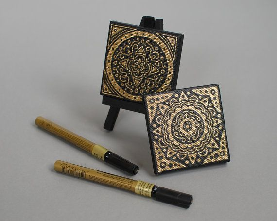 Mini Canvas // Mandala 3x3 by EmDashPaperCo on Etsy