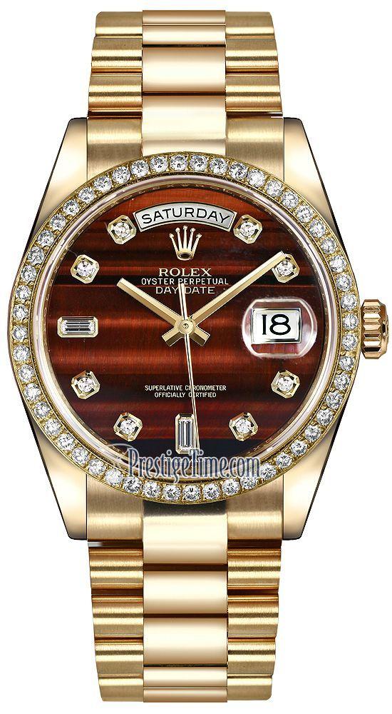 Rolex Day-Date 36mm Yellow Gold Diamond Bezel 118348 Bulls Eye Diamond President #golddiamond