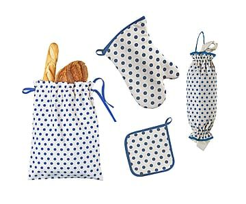 Set de bolsa para pan, portabolsas, manopla y agarradera Pois - azul oscuro