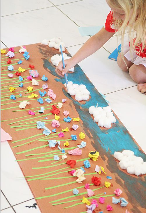 78 best images about preschool flowers theme on pinterest for Collage mural ideas