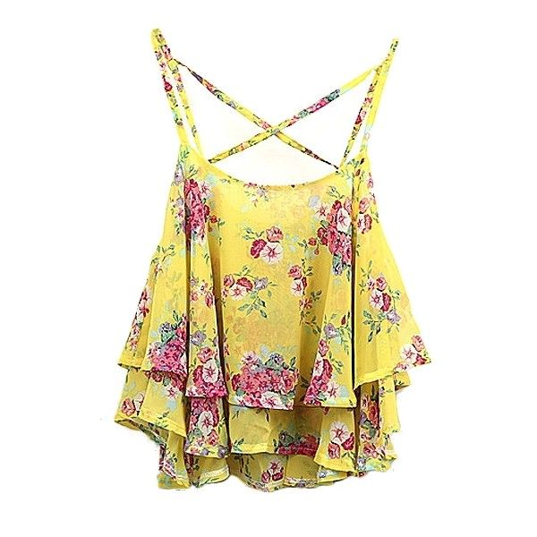 Vintage Flora Print Ruffle Layer Cross Strap Chiffon Camis ($8.58) ❤ liked on Polyvore featuring tops, chiffon top, print tank, camisole tank, chiffon camisole and pattern tank top