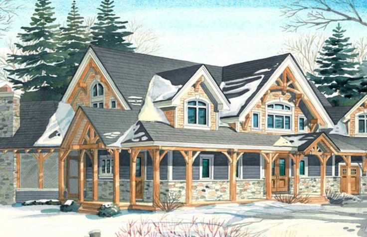 Timber frame combination house timber frame entry porch for Timber frame porch addition