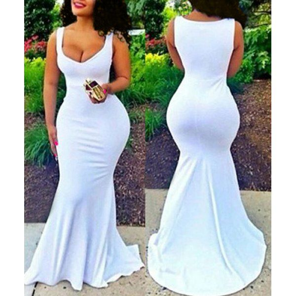 Wholesale Sexy White Plunging Neck Sleeveless Bodycon Fishtail Maxi Dress For Women Only $8.43 Drop Shipping | TrendsGal.com