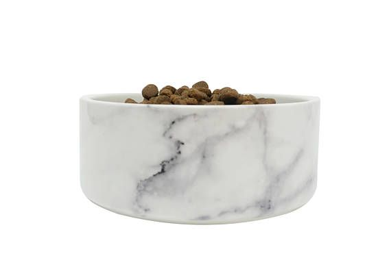 Ceramic Dog Bowl In White Marble Modern Food Water Dish For