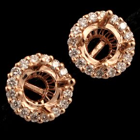 Shop 14KR .49ctw Diamond Round Semi-Mount 7mm Round Earrings and other jewelry, art, coins, rugs and real estate at www.aantv.com