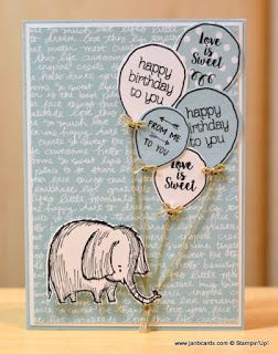 Today's card is a simple birthday card using the gorgeous elephant from the divine Stampin' Up! Love You Lots Hostess Stamp Set. Sentiments and balloons are from Circle of Spring, Balloon Celebration and Ready To Pop Stamp Sets. www.janbcards.com