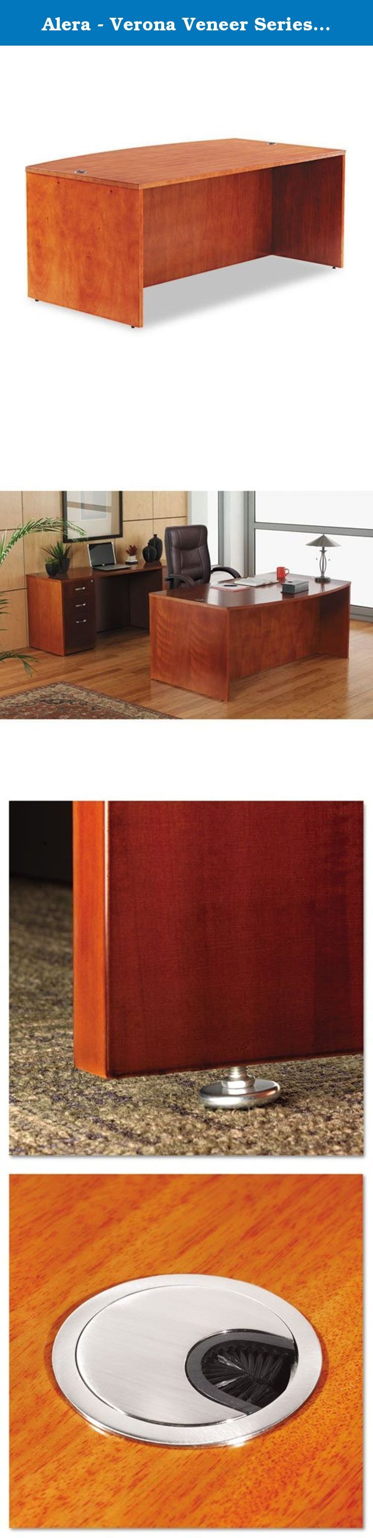 """Alera - Verona Veneer Series Bow Front Desk Shell, 71w x 41-1/2d x 29-1/2h, Cherry RN22-7242CM (DMi EA. Combining veneer elegance with modular format versatility. Premium-grade veneers and solid woods are fine finished, with durability suited to everyday commercial applications. Conference overhang with full-length modesty panel. Solid wood edge with a distinctive reeded profile. Two grommet holes for convenient cable management. Use with Return Shell to create an """"L"""" grouping, or combine..."""