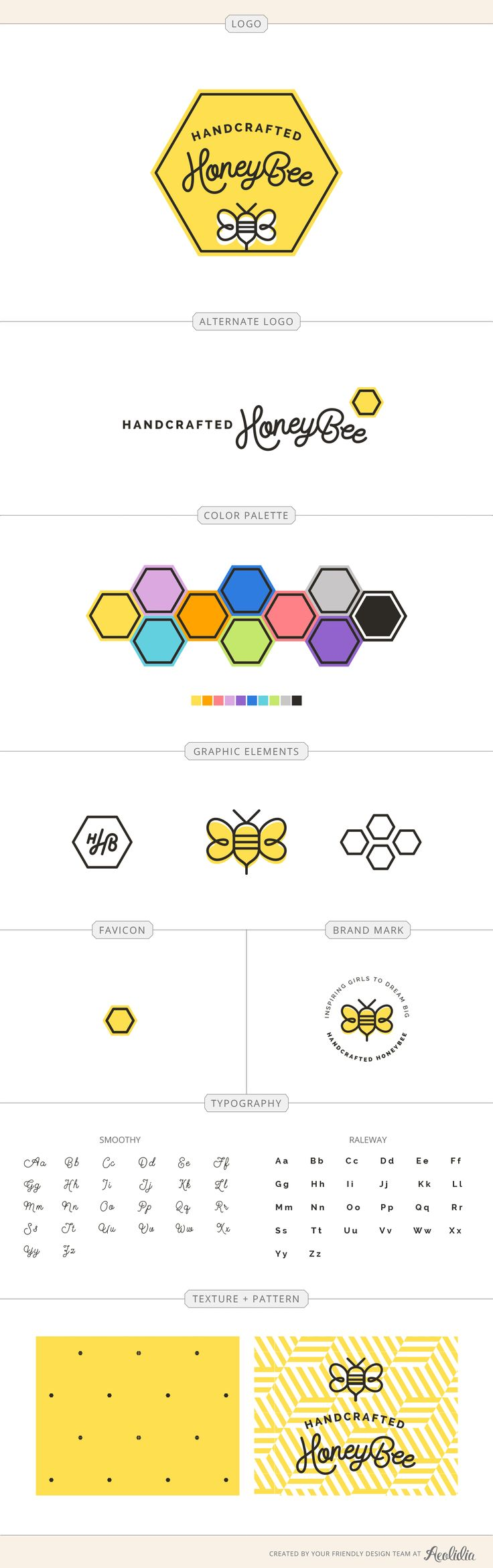 Handcrafted HoneyBee, quick brand board. Brand identity guide for a skincare and…