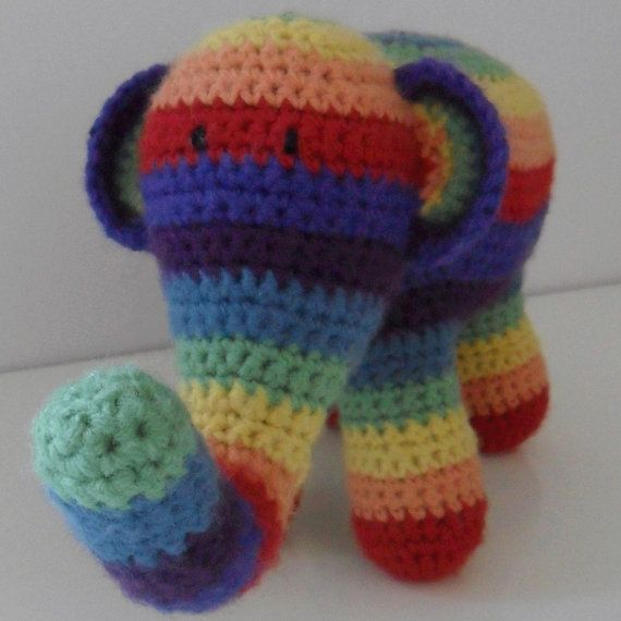 Hand Crocheted Rainbow Elephant by HappyGeekCreations on Etsy, £14.50