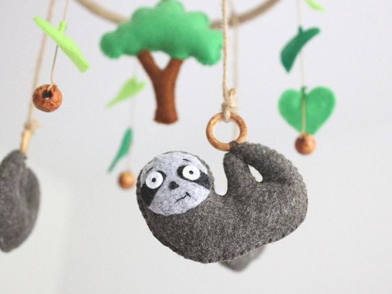 Sloth Baby Mobile Felt Sloth Tree Scandinavian Baby Mobile