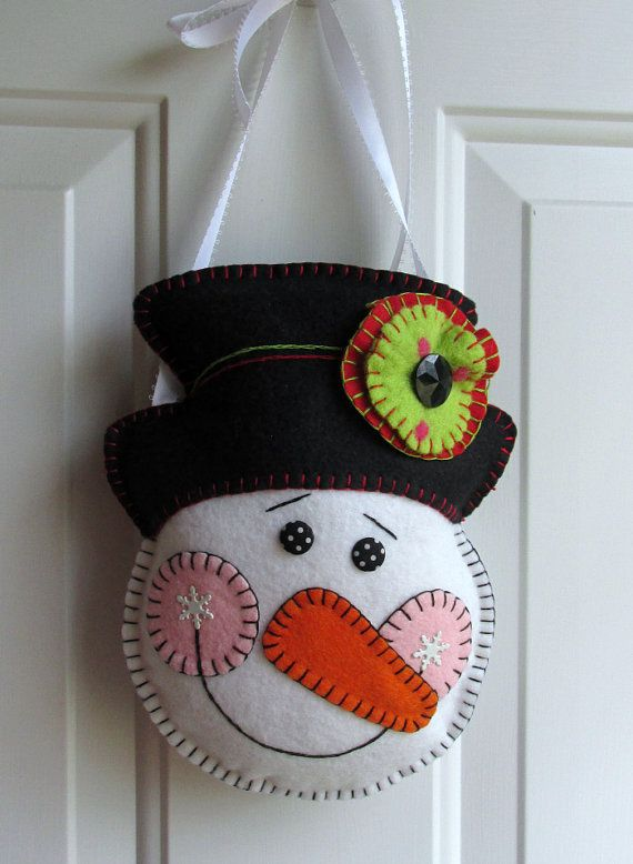 Wool Felt Snowman with Top Hat Door Ornament by FHGoldDesigns