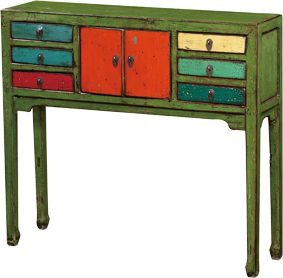 Wooden Table with 6 Drawers - Poppy's Home & Garden